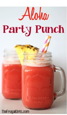 Aloha Party Punch Recipe - pineapple juice, 7 cups fruit punch, 1 liter ginger ale, approx orange sherbet *find some alcohol to substitute. Or just add* Party Drinks, Cocktail Drinks, Fun Drinks, Yummy Drinks, Mixed Drinks, Fruity Drinks, Aloha Party, Luau Party, 31 Party