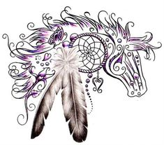 A horse tattoo design with a dream catcher and feathers incorperated. This design includes a heart charm, rose and butterfly. I have been designing lettering for over 20 years now. If you are interested in having me make you a custom tattoo design, Dream Tattoos, Future Tattoos, Love Tattoos, Tatoos, Hand Tattoos, Awesome Tattoos, Native American Horses, Native American Tattoos, Horse Tattoo Design