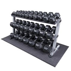 Heavy Duty Dumbbell Set with Rack lbs Pairs. Heavy Duty Body-Solid Dumbbell Rack with Tier. Strength Training Equipment, No Equipment Workout, Workout Gear, Fitness Equipment, Gym Fitness, Fitness Motivation, Dumbbell Set With Rack, Dumbbell Rack, Rubber Dumbbells