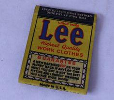 Lee Work Clothes Matchbook