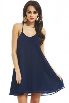 NAVY CHIFFON SWING DRESS shopmodmint.com