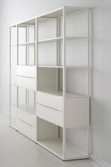 Fjalkinge Shelving System - adjust shelves to fit wide wall-mounted TV? Storage Shelves, Shelving, Storage Units, Kids Bedroom, Bedroom Decor, Study Nook, Minimalist Apartment, Ikea Hacks, New Homes
