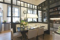 functional English style kitchen with a banquette dining room