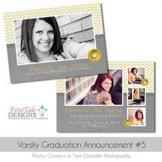 Varsity Graduation Announcement No. 5 Custom Photoshop Templates for Photographers Graduation Templates, Senior Boys, Graduation Announcements, Photo Cards, All The Colors, Photographers, Polaroid Film, Photoshop, Design