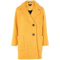 Topshop Seamed Boucle Coat (285 TND) ❤ liked on Polyvore featuring outerwear, coats, mustard, boucle coats, mustard yellow coat, mustard coat, topshop coats and yellow coat