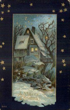 Christmas - Home in Winter Moonlight - Starry Border c1910 Postcard