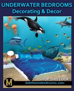 Under the ocean This is an awesome room!!! Under the sea bedding. Underwater animals, fish wall decal murals. Fish bedding. Decorating ocean bedrooms, Mermaid bedrooms. Seashell decor. Girls bedrooms.