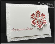 Connie's CAS card features Bold Snowflake, Sweet Essentials, Blossom punch, Snow Flurry die, & Petals-a-Plenty embossing folder.