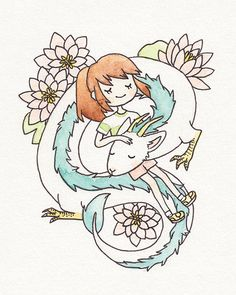 HAKU and Chihiro at rest together, floating among water lilies. --- an 8x10 print on matte paper stock