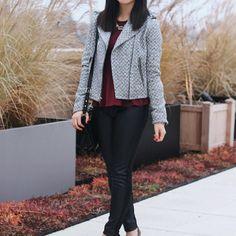 Gap Herringbone Wool Crop Moto Jacket