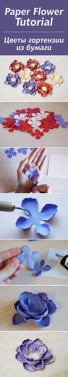 Создаем нежные цветы гортензии из бумаги #diy #tutorial #craft #handmade #scrapbooking