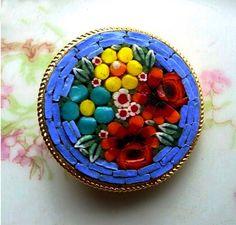 Vintage Micro Mosaic Brooch Made in Italy   AestheticsAndOldLace - Jewelry on ArtFire