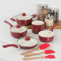Conjunto Panela de Revestimento Cerâmico Colors 5 peças Vermelha + Conjunto Utensílios Silicone 3 peças + Pote de Vidro Poá 3 peças La Cuisine