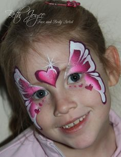 A quick and pretty valentine butterfly face painting. Brisbane Face Painter. Best job in the world!