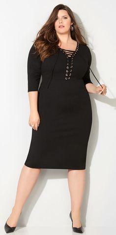 Plus Size Lace Up Dress