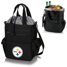 The Pittsburgh Steelers Activo Cooler Tote is insulated to keep food and drinks cold, but looks great as an every day tote bag as well.  Made by Picnic Time.