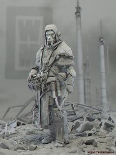 Weathermen character Zbrush sculpt by Kandor Graphics artist David Munoz Velasquez of Granada, Spain! Character Modeling, 3d Character, Character Concept, Concept Art, Character Design, 3d Modeling, Zbrush, Post Apocalyptic Art, Post Apocalyptic Fashion