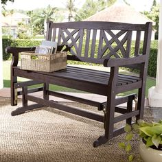 Have to have it. Coral Coast 4 ft. Seneca Outdoor Wood Glider Loveseat - $249.98 @hayneedle