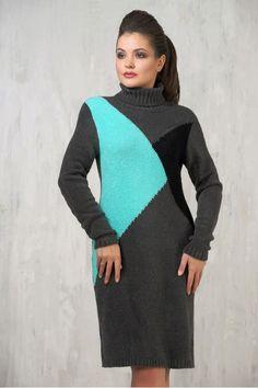 7aff8c2022d Черное вязаное платье на зиму и осень