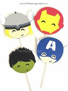 12 Avengers cupcake toppers Captain America Thor Iron Man