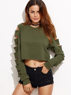 Army Green Ladder Cut Out Sleeve Raw Hem SweatshirtFor Women-romwe
