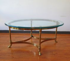 vintage labarge italy ram goat hoof brass & glass coffee table