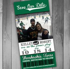 Hockey Save The Date Hockey Ticket Hockey Wedding by CLaceyDesign, $15.00