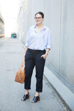 Perfect Weekend Outfits, Courtesy Of Toronto's Coolest  #refinery29  http://www.refinery29.com/toronto-fall-street-style#slide20  Blaire Borins shows how the high-low mix is done: a Gap men's shirt and Zara pants, plus Margiela block-heel shoes and a Karen Walker bag.