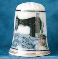 FINE CHINA THIMBLE - SEWING MACHINE WITH SCISSORS