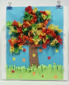 In canvas or artist board. Paint the tree on. Leaves are tissue paper. ~ DE