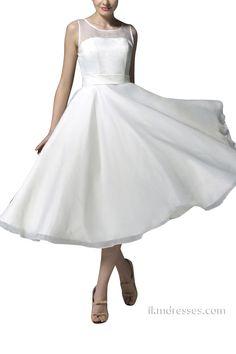 http://www.ikmdresses.com/Short-Wedding-Dress-A-line-Tea-Length-Bridal-Wedding-Dress-Beach-Party-Dress-p88767