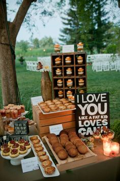 I love you like a fat kid loves cake!  Peanut butter sandwich cookies, cheddar cheese and apple pies, carrot and cream cheese mousse parfaits, peach cobbler.  Cake and dessert by Sugar and Spice Specialty Desserts, Sacramento, CA Photographer: Rashell Photography Wedding Planner: A Day to Remember