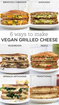 Here are 6 ways to make the best VEGAN Grilled Cheese! We've got spinach artichoke, mushroom, traditional, pesto, broccoli cheddar, and avocado! These grilled cheese sandwich recipes are dairy-free, gluten-free, easy to make, healthy, and they taste gourmet! Vegan Foods, Vegan Vegetarian, Vegetarian Recipes, Healthy Recipes, Clean Eating Recipes, Lunch Recipes, Sandwich Recipes, Vegan Sandwiches, Wrap Recipes