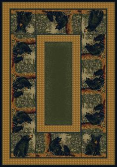 Bear Family Hautman Brothers Wildlife Cabin Lodge Area Rug in 4 sizes and a hall runner for your #Cabin #Lodge #Bear #Home #Decor #Decorating #DelectablyYours #Rugs