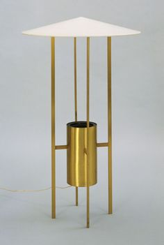 Philip Johnson - Floor Lamp - 1950. Brass and painted metal