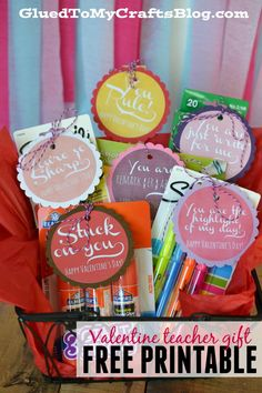 Valentine Teacher Gift Idea + Free Printable Give your child's teacher a gift this Valentine's Day holiday that is beyond sweet treats! Help stock their classroom with our Valentine Teacher Gift Idea! My Funny Valentine, Kinder Valentines, Valentines Day Holiday, Valentine Day Crafts, Holiday Fun, Valentine Ideas, Valentine Gifts For Teachers, Printable Valentine, Homemade Valentines