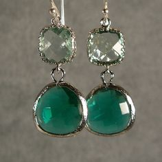 Prasiolite and Teal Green Glass Silver Earrings by ilexiadesigns, $28.00
