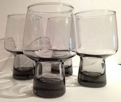 Vintage Mod Mid Century Retro Smoked Glass Funky Mushroom Design Beer Glasses on Etsy, $29.11 CAD