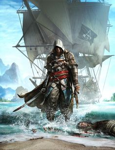 View an image titled 'Cover Art' in our Assassin's Creed IV: Black Flag art gallery featuring official character designs, concept art, and promo pictures. The Assassin, Arte Assassins Creed, Assassins Creed Black Flag, All Assassin's Creed, Assasing Creed, Deutsche Girls, Assassin's Creed Black, Connor Kenway, Serial Killers