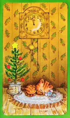 vintage Christmas card: cat & mouse sleeping by Christmas tree