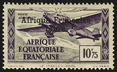 """French Equatorial Africa, 10.75fr : : overprinted """"Afrique Francaise Libre (Free French Africa)"""" : : 1940-41"""