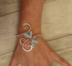 Aquamarine Swarovski Dragonfly cuff bracelet by ElvenstarDesign on .Aquamarine Swarovski bransoletka z mankietemSilver Necklace With PendantSterling Silver Jewelry Gifts Archives - Jewelry and GiftsJewelry For Sale Online Dragonfly Jewelry, Metal Jewelry, Body Jewelry, Unique Jewelry, Jewelry Accessories, Handmade Jewelry, Jewelry Design, Jewelry Armoire, Indian Jewelry