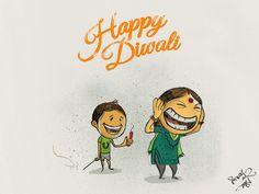 Happy Diwali on Behance Cartoon Illustrations, Cartoon Sketches, Cartoon Pics, Diwali Cards, Indian Illustration, Happy Diwali, Holiday Wishes, Hinduism, Indian Style