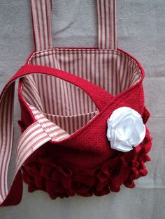 Burlap Purse Ruffled Bag ~ by theruffleddaisy on Etsy