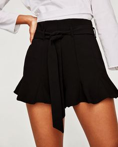 FLOWING BERMUDA SHORTS WITH RUFFLED HEMS-SHORTS-WOMAN | ZARA Philippines