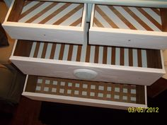 painted interior drawers using frog painters tape