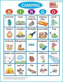 Camping bingo free printable cards diy crafts printables camping bingo solutioingenieria Gallery