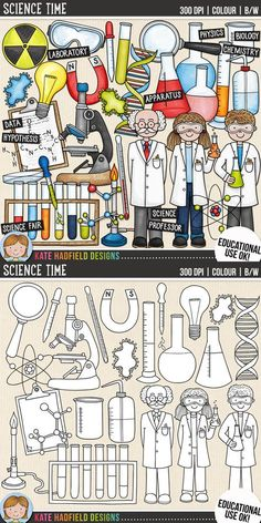 Science clip art for teachers! | Contains coloured clipart and black and white outlines at 300 dpi for highest quality printing for your resources and projects! | Hand-drawn clip art by Kate Hadfield Designs at Teachers Pay Teachers