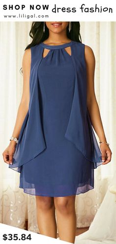 ded84c06 USD35.84 Sleeveless Blue Keyhole Neckline Chiffon Dress #liligal #dresses