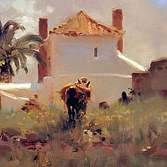 Kim English, Home from the Fields, one of my friends ad mentors. You never get tired of looking at Kim's work. Kim English, Landscape Art, Landscape Paintings, English Artists, Klimt, Figure Painting, Portraits, Cool Art, Art Gallery